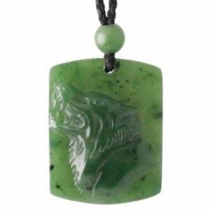 Other - Nephrite Jade Wolf Pendant Adjustable Cord Necklac